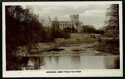 Real Photo Postcard - Jedburgh Abbey from the River - Scotland