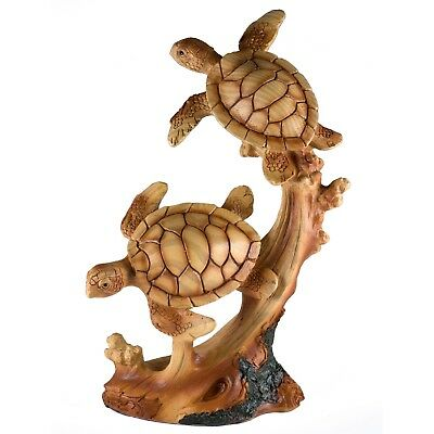 "Pair of Sea Turtles Faux Carved Wood Look Figurine 7.25"" High Resin New In Box!"
