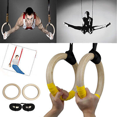 29mm 500LB Wooden Gymnastic Olympic Rings Crossfit Gym Fitness Training Exercise