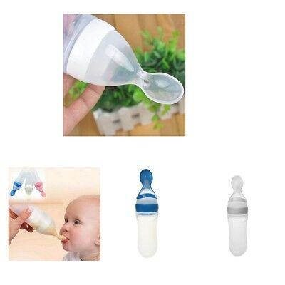 2Pcs Infant Kids Spoon Feeding Silica Feeding Bottle With Spoon Rice Cereal