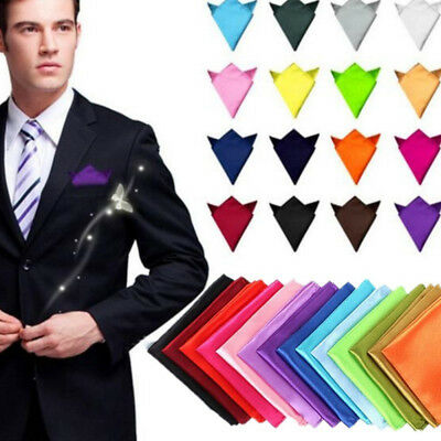 Mens Solid Silk Handkerchief Wedding Party Suit Pocket Square Hanky Chest Towel
