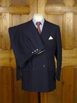 Vintage Edward Sexton Savile Row Bespoke Navy Blue 3-Piece Db Wool Suit 38 Short