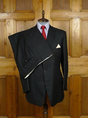 VINTAGE HENRY POOLE SAVILE ROW BESPOKE BLACK ROPE-STRIPE SUIT 43 REG to LONG