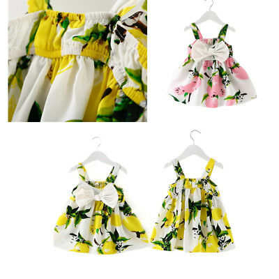 864da6e8c0 Summer Infant Baby Girls Floral Dress Lemon Print Bowknot Sundress Clothes  d6g