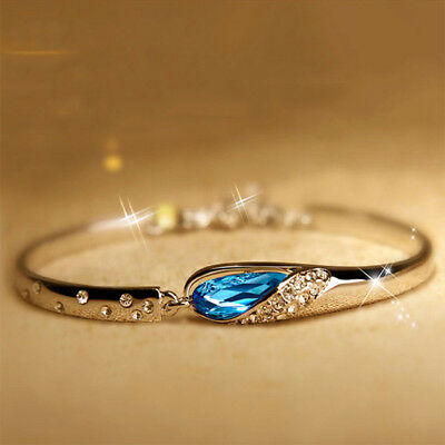 Modern Women Romantic Jewelry Blue Vintage Bracelet Bangle Drop Tear Design