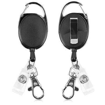 Retractable ID Badge Holder - Yo Yo ID Card Belt Clip with Metal Carabiner