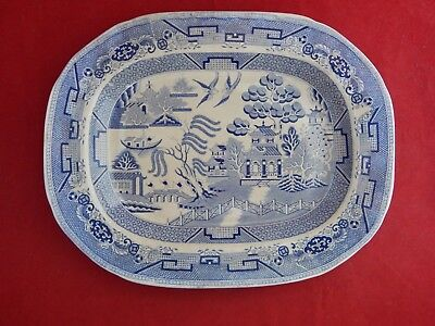 Antique Blue Willow Pattern 15 3/4 By 12 1/2 Inches.staffordshire 1840's.
