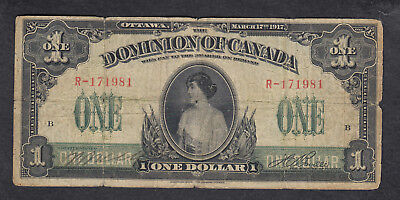 1917 Dominion Of Canada 1 Dollar Bank Note