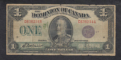 1923 Dominion Of Canada 1 Dollar Bank Note Purple Seal