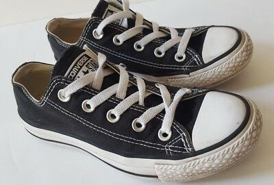 Black All Star Converse Trainers Ladies Girls Boys Uk 3 Shoes Pumps White Laces