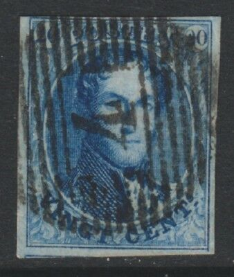Belgium - 1861, 20c Blue King Leopold - 4 Margins - Used - SG 14 (i)