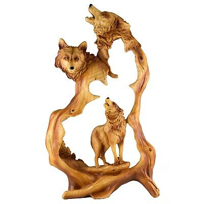 Wolf Howling Faux Carved Wood Look Figurine Statue Resin 12.25 Inch High New!