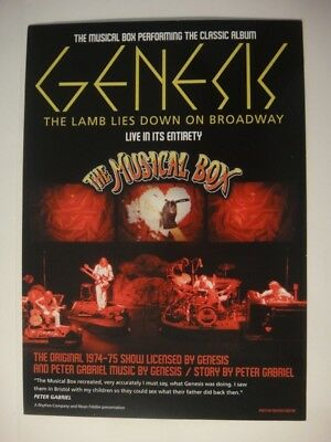 Genesis Tribute - The Musical Box A5 Flyer The Lamb Lies Down On Broadway 2018