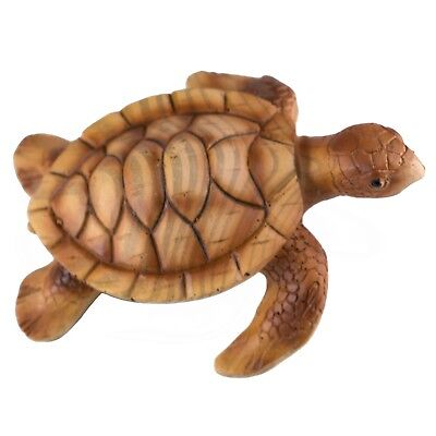 "Small Sea Turtle Faux Carved Wood Look Figurine 3.5"" Long Resin New!"
