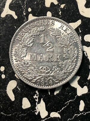 1914-A Germany 1/2 Mark (18 Available) Circulated (1 Coin Only) Silver!