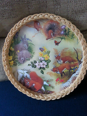 Vintage Wicker Tray By Smit Of Guildford With Woodland Animals Mint Condition