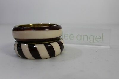 Lee Angel NEIMAN MARCUS Creme and Brown Striped Stackable Bangle Bracelet NWT125