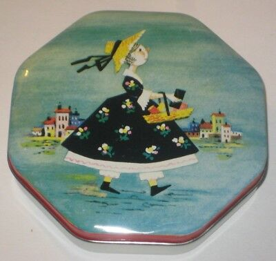 LADY w/BASKET Vintage LOVELL'S Fine CONFECTIONERY Metal OCTAGONAL Toffee TIN
