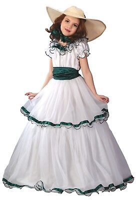 Southern Belle Girls Ball Gown Dress Colonial Prairie Victorian Child Costume