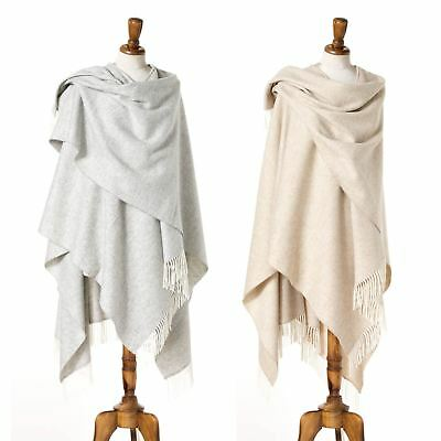 Bronte 100% Merino Lambswool Ruana Shawl Beige or Grey Herringbone British Made