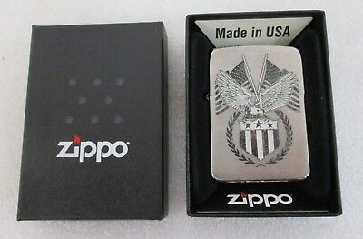 Zippo Windproof Replica Brushed Chrome Lighter American Eagle 29093