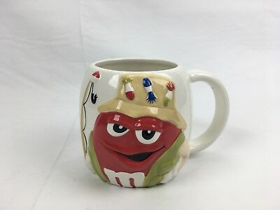 M&M Collectible Fishing Mug Father's Day Gift Fisherman Large Ceramic Cup Red