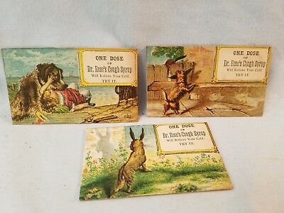 3 Diff Late 1800's Trade Cards Quack Medicine 1 Dose Cough Syrup Cures Cold NR