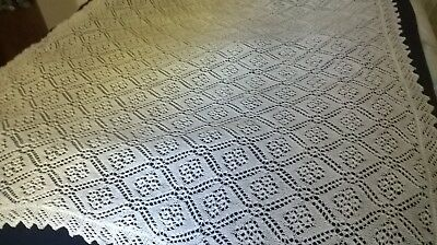Vintage Finely Knitted Shawl Fine Lacy Pattern