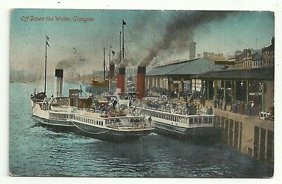 Lanarkshire postcard Glasgow off down the water Paddle Steamers at Quay