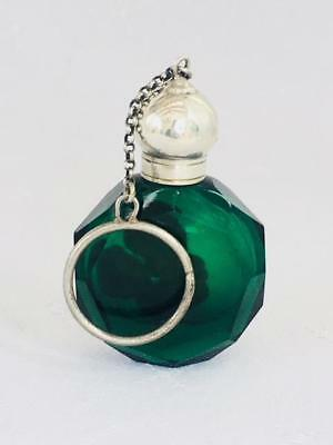Antique Emerald Green Perfume Scent Bottle Silver Lid Chain Finger Ring C1880