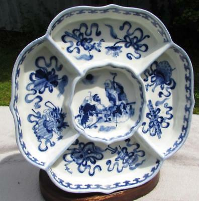 Very Rare Antique Chinese Republic Period B & W Hors D'oeuvre Dish Circa 1910