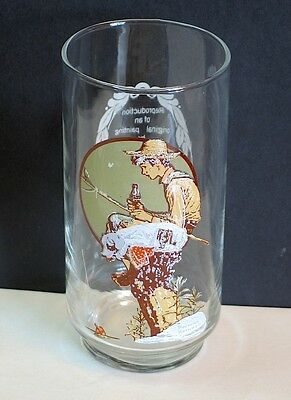 Coca Cola Norman Rockwell Boy Fishing Painting Repro Glass FREE SH
