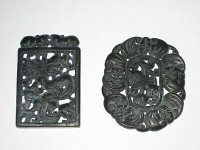 Two Vintage/Antique Lacquered Metal Asian Garment Buckles !: Dragon And Poppy.