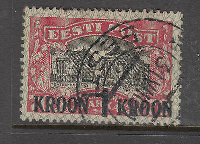 ESTONIA 1930 1 Kroon Ovpt FINE USED