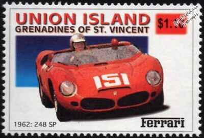 1962 FERRARI 248 SP Race / Racing Car Stamp (2002 Union Island)