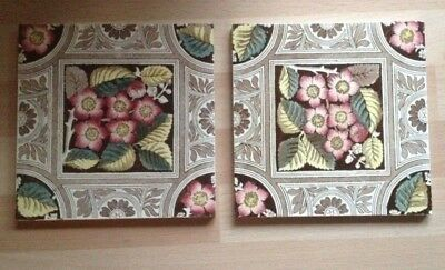 "2 Genuine Antique Transfer Print Tiles - Arts & Crafts Flowers 6""x 6"""