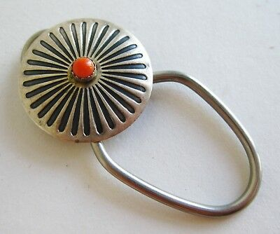 Old Vintage Navajo Indian Sterling Silver Coral Concho Keychain Key Chain Fob