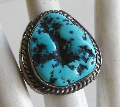 Old Vintage Navajo Indian Sterling Silver Blue Turquoise Ring size 8.5