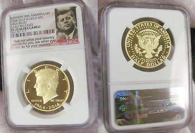 1964 - 2014 W Gold Kennedy Half Dollar High Relief NGC PF 70 Ultra Cameo Early