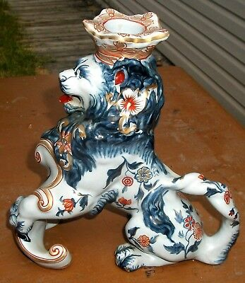 Fine Signed Emile Galle Nancy Faience Pottery Majestic Lion Candle Chamberstick