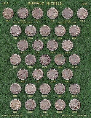 Complete 64-Coin Set Buffalo Nickels 1913-1938(PDS) Circulated....No Acid Dates!
