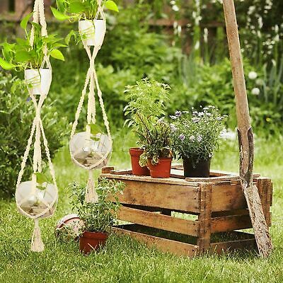 Double 2 Layer Vintage Macrame Plant Hanger Flowerpot Holder Basket Lifting Rope