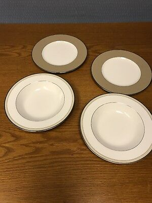 Lot Noritake CAMEROON SAND 2 Soup Bowls 2 Accent Luncheon Plates 7992 Retired