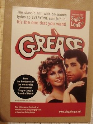 Grease A5 Flyer- Sing A Long With The Movie Event From 2012