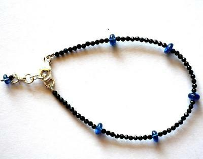"""7.5-8.5""""925 Silver Bracelet Natural Kyanite /spinel Faceted Round Beads#606"""