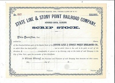 Stk-State Line & Stony Point RR New York See image #3 for GREAT information
