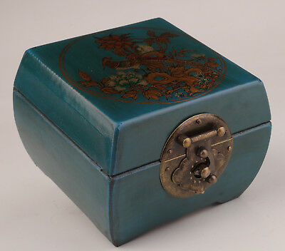 Vintage Blue Square Leather Jewelry Box Flower Bird Dowry Collection Superb