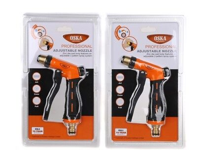 2 x New OSKA Professional Adjustable Nozzles, 3 Pattern Spray System