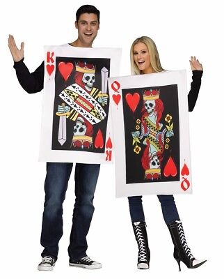 Couples King & Queen of Hearts Cards Costume Adult Pair Funny Humorous Costumes