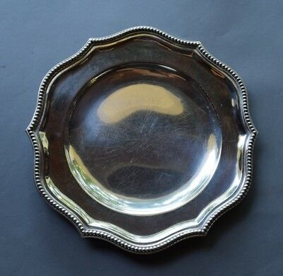 "Large 11 3/4"" Argentina Sterling Silver .925 Platter with Beaded Edge 932 grams"